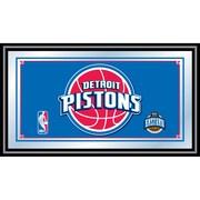 "Trademark Global® 15"" x 27"" Black Wood Framed Mirror, Detroit Pistons NBA"