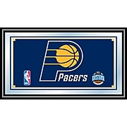 "Trademark Global® 15"" x 27"" Black Wood Framed Mirror, Indiana Pacers NBA"