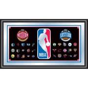 "Trademark Global® 15"" x 27"" Black Wood Framed Mirror, NBA Logo"