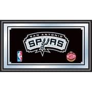 "Trademark Global® 15"" x 27"" Black Wood Framed Mirror, San Antonio Spurs NBA"