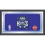 "Trademark Global® 15"" x 27"" Black Wood Framed Mirror, Sacramento Kings NBA"