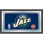 "Trademark Global® 15"" x 27"" Black Wood Framed Mirror, Utah Jazz NBA"