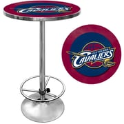 "Trademark Global® 27.37"" Solid Wood/Chrome Pub Table, Brown, Cleveland Cavaliers NBA"