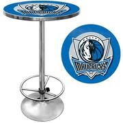 "Trademark Global® 27.37"" Solid Wood/Chrome Pub Table, Blue, Dallas Mavericks NBA"