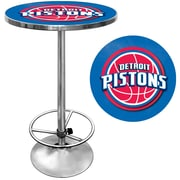 "Trademark Global® 27.37"" Solid Wood/Chrome Pub Table, Blue, Detroit Pistons NBA"