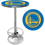 "Trademark Global® 27.37"" Solid Wood/Chrome Pub Table, Blue, Golden State Warriors NBA"