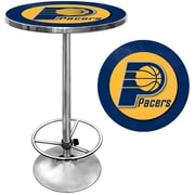 """Trademark Global® 27.37"""" Solid Wood/Chrome Pub Table, Blue, Indiana Pacers NBA"""