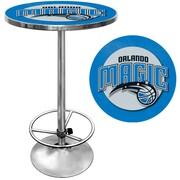 "Trademark Global® 27.37"" Solid Wood/Chrome Pub Table, Blue, Orlando Magic NBA"