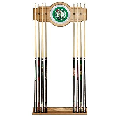 Trademark Global® Wood and Glass Billiard Cue Rack With Mirror, Boston Celtics NBA