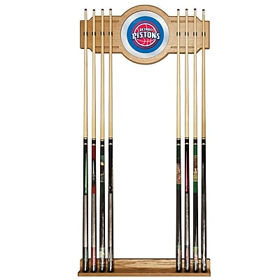 Trademark Global® Wood and Glass Billiard Cue Rack With Mirror, Detroit Pistons NBA