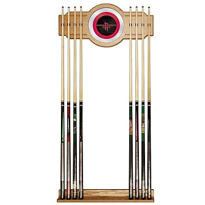 Trademark Global® Wood and Glass Billiard Cue Rack With Mirror, Houston Rockets NBA