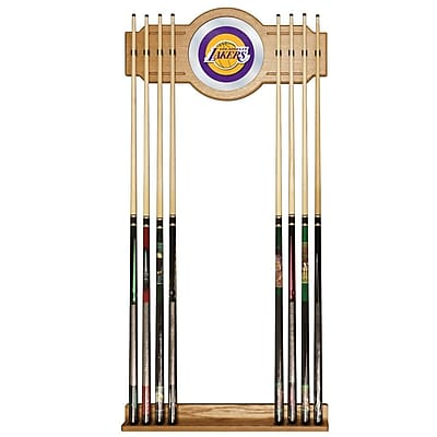 Trademark Global® Wood and Glass Billiard Cue Rack With Mirror, Los Angeles Lakers NBA