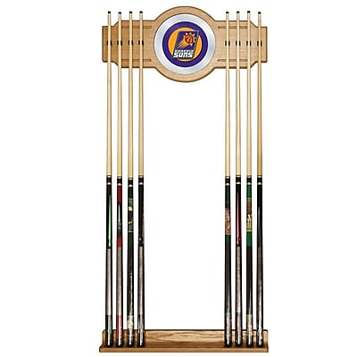 Trademark Global® Wood and Glass Billiard Cue Rack With Mirror, Phoenix Suns NBA
