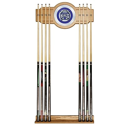 Trademark Global® Wood and Glass Billiard Cue Rack With Mirror, Sacramento Kings NBA