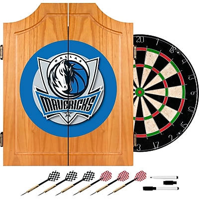 Trademark Global® Solid Pine Dart Cabinet Set, Dallas Mavericks NBA