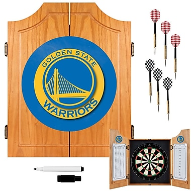 Trademark Global® Solid Pine Dart Cabinet Set, Golden State Warriors NBA
