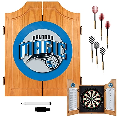 Trademark Global® Solid Pine Dart Cabinet Set, Orlando Magic NBA