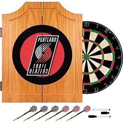 Trademark Global® Solid Pine Dart Cabinet Set, Portland Trail Blazers NBA