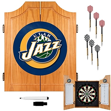 Trademark Global® Solid Pine Dart Cabinet Set, Utah Jazz NBA
