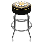 Trademark Global® Vinyl Padded Swivel Bar Stool, Black, NHL® Throwback Boston Bruins