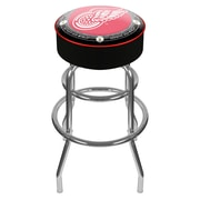 Trademark Global® Vinyl Padded Swivel Bar Stool, Black, NHL® Throwback Detroit Redwings