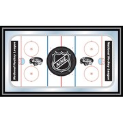 "Trademark Global® 15"" x 26"" Black Wood Framed Mirror, NHL Rink Shield Logo"