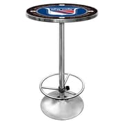 "Trademark Global® 27.37"" Solid Wood/Chrome Pub Table, Blue, NHL® Vintage New York Rangers"