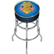 Trademark Global® Vinyl Padded Swivel Bar Stool, Blue, Police Officer