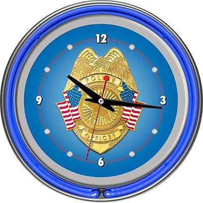 Trademark Global® Chrome Double Ring Analog Neon Wall Clock, Police Officer