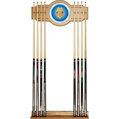 Trademark Global® Wood and Glass Billiard Cue Rack With Mirror, Police Officer