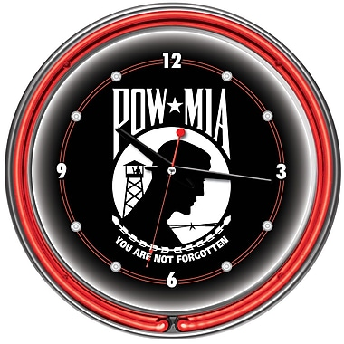 Trademark Global® Chrome Double Ring Analog Neon Wall Clock, POW