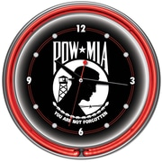 Trademark Global® Chrome Double Ring Analog Neon Wall Clock, POW