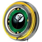 Trademark Global® Chrome Double Ring Analog Neon Wall Clock, Rack'em 8 Ball