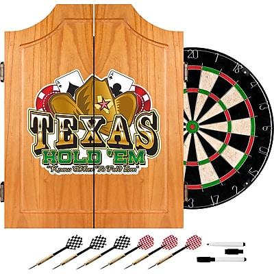 Trademark Global® Solid Pine Dart Cabinet Set, Texas Hold'em