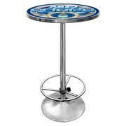 """Trademark Global® 28"""" Solid Wood/Chrome Pub Table, Gray, US Air Force"""