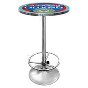 "Trademark Global® 28"" Solid Wood/Chrome Pub Table, Red, US Coast Guard"