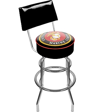 Trademark Global® Vinyl Padded Swivel Bar Stool With Back, Black, United States Marine Corps