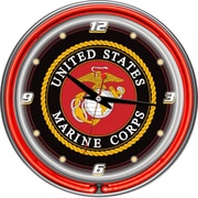 Trademark Global® Chrome Double Ring Analog Neon Wall Clock, United States Marine Corps