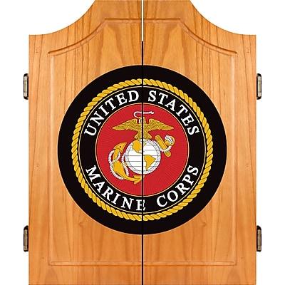 Trademark Global® Solid Pine Dart Cabinet Set, United States Marine Corps