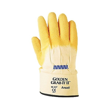 Ansell® Golden Grab-It® II 16347 Jersey Lining Natural Rubber Latex Multi-Purpose Gloves, Yellow, XL