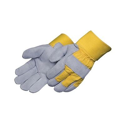 Impact® Premium Leather Plam Safety Cuff Gloves, Yellow/Gray, Large