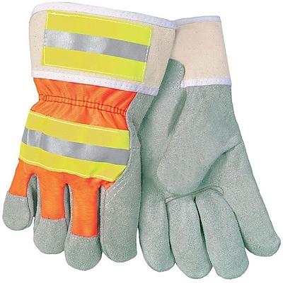 Memphis Glove 3M® Leather Luminator Reflective Gloves, Gray/Orange/Yellow, Large