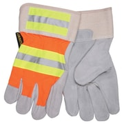 Memphis Glove 3M® Leather Luminator Reflective Gloves, Gray/Orange/Yellow, X-Large