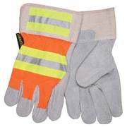 Memphis Glove 3M® Leather Luminator Reflective Gloves, Gray/Orange/Yellow, X-Large