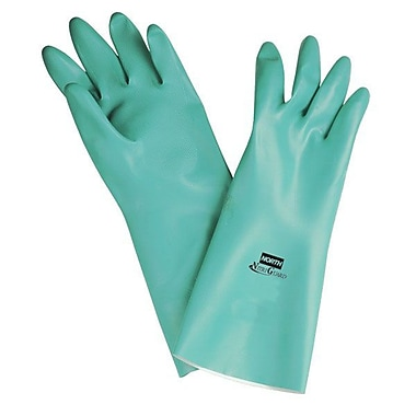 North Safety® NitriGuard Plus™ Flock Lining Nitrile Gloves, Green, XL, 12/Pack