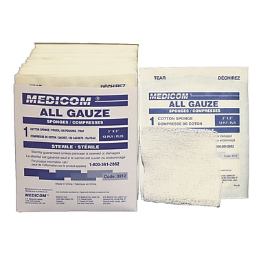 Tampons de gaze stériles, 3 x 3 po, paquet de 300