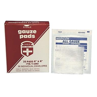 Tampons de gaze stériles, 4 x 4 po, paquet de 125