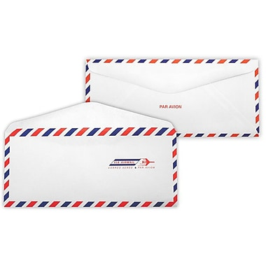 LUX Moistenable Glue #10 Regular Envelopes (4 1/8 x 9 1/2) 500/Box, Airmail (92908-500)