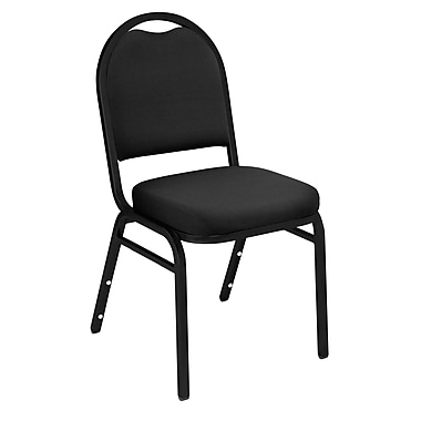 NPS® Solid Fabric Padded Dome Stack Chair, Ebony Black/Black Santex, 4/Pack