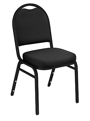 National Public Seating 9200 Series Steel Frame Fabric Padded Dome Stack Chair, Black 80/Pack (9260-BT-NB/80)